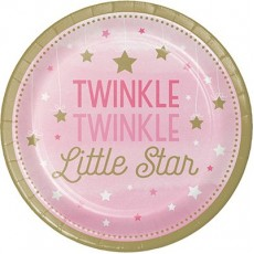 Round Girl One Little Star Paper Twinkle Twinkle Little Star Dinner Plates 22cm Pack of 8
