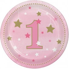 Round Girl One Little Star Paper 1 Lunch Plates 18cm Pack of 8