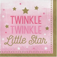 Girl One Little Star Twinkle Twinkle Little Star Lunch Napkins Pack of 16