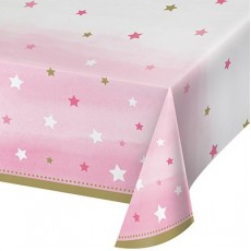 Girl One Little Star Plastic Table Cover 137cm x 259cm