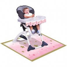 Pink Girl One Little Star High Chair Decorating Kit