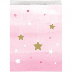 Girl One Little Star Paper Treat Favour Bags 22cm x 16cm Pack of 10