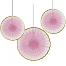 Round Girl One Little Star Tissue Paper Fan Hanging Decorations Pack of 3
