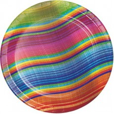 Round Mexican Fiesta Serape Paper Lunch Plates 18cm Pack of 8