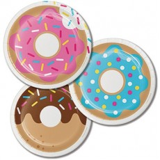 Round Donut Time Paper Lunch Plates 18cm Pack of 8