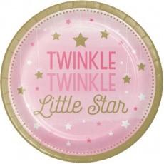 Girl One Little Star Twinkle Twinkle Paper Lunch Plates