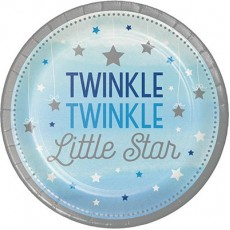 Round Boy One Little Star Twinkle Twinkle Little Star Lunch Plates 18cm Pack of 8