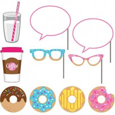 Donut Time Photo Booth Photo Props 25cm Pack of 10