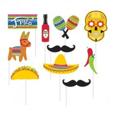 Mexican Fiesta Serape Photo Booth Photo Props 25cm Pack of 10
