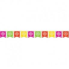 Mexican Fiesta Serape Picado Flag Banner 25cm x 2.7m