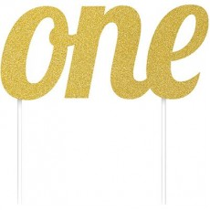 Number 1 Party Supplies - Cake Topper Glittered Gold 15cm