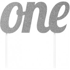 Number 1 Party Supplies - Cake Topper Glittered Silver 15cm