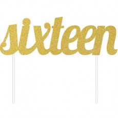 16th Birthday Gold Glittered  Cake Topper
