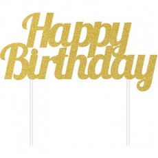 Happy Birthday Gold Glittered  Cake Topper