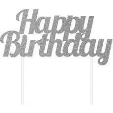 Silver Glittered Happy Birthday to You! Cake Topper 15cm x 18cm