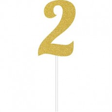 Number 2 Party Supplies - Cake Topper Glittered Gold 15cm x 5cm