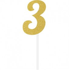 Number 3 Party Supplies - Cake Topper Glittered Gold 15cm x 5cm