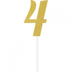 Number 4 Party Supplies - Cake Topper Glittered Gold 15cm x 5cm