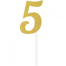 Number 5 Party Supplies - Cake Topper Glittered Gold 15cm x 5cm