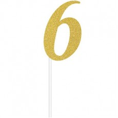 Number 6 Party Supplies - Cake Topper Glittered Gold 15cm x 5cm