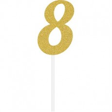 Number 8 Party Supplies - Cake Topper Glittered Gold 15cm x 5cm