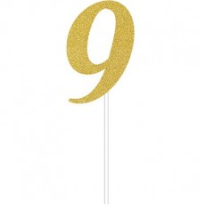 Number 9 Party Supplies - Cake Topper Glittered Gold 15cm x 5cm