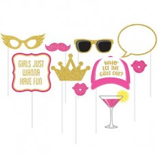 Glittered Multi Coloured Hens Night Girls Night Out Photo Props Pack of 10