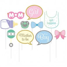 Glittered Multi Coloured Baby Shower - General Photo Props Pack of 10