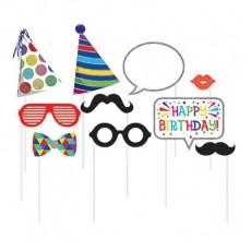 Happy Birthday Birthday Theme Assorted Photo Props 25cm Pack of 10