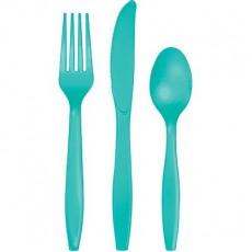 Green Teal Lagoon Plastic Cutlery Sets