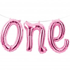 Number 1 Pink Banner Shaped Balloon