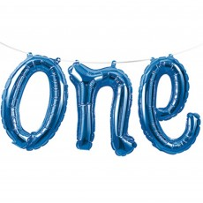 Number 1 Blue Banner Shaped Balloon