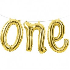 Number 1 Gold Banner Shaped Balloon
