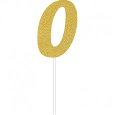 Number 0 Party Supplies - Cake Topper Glittered Gold 15cm x 5cm