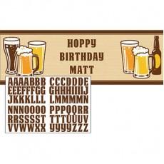 Happy Birthday Cheers & Beers Personalise It Giant Banner 51cm x 152cm