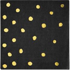 Black Velvet & Gold Touch of Colour Dots Beverage Napkins