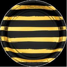 Round Black Velvet & Gold Stripes Touch of Colour Dinner Plates 22cm Pack of 8