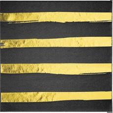 Black Velvet & Gold Stripes Touch of Colour Lunch Napkins Pack of 16