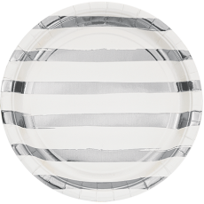 Round White & Silver Stripes Touch of Colour Dinner Plates 22cm Pack of 8