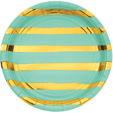 Green Fresh Mint  & Gold Touch of Colour Dinner Plates
