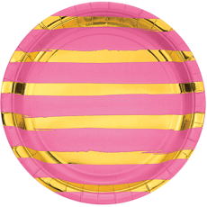 Round Candy Pink & Gold Stripes Touch of Colour Dinner Plates 22cm Pack of 8