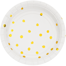 Dots White & Gold Foil Touch of Colour Lunch Plates