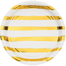 White & Gold Touch of Colour Striped Dinner Plates