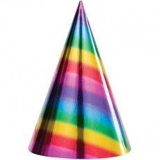Rainbow Cone Party Hats Pack of 8