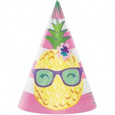 Pineapple N Friends Cone Party Hats 15cm x 11cm Pack of 8