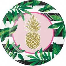 Round Bridal Shower Pineapple Wedding Banquet Plates 26cm Pack of 8