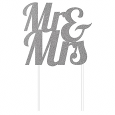 Wedding Glittered Silver  Cake Topper