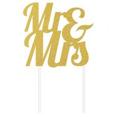 Glittered Gold Wedding Mr & Mrs Cake Topper 24cm x 18cm