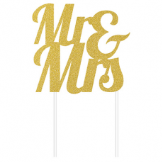 Wedding Glittered Gold  Cake Topper