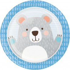 1st Birthday Bear Paper Dinner Plates